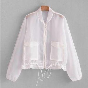 Jackets & Blazers - Drawstring hem mesh jacket